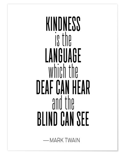 Póster Mark Twain, Kindness (inglés)