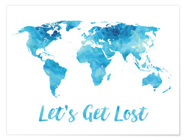 Póster World Map Watercolor Blue