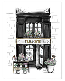 Póster French Shop Front - Fleuriste