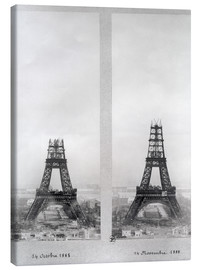 Lienzo  Two views of the construction of the Eiffel Tower
