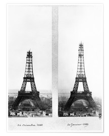 Póster Two views of the construction of the Eiffel Tower