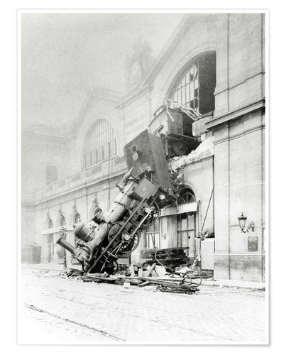 Póster Train accident at the Gare Montparnasse in Paris on 22nd October 1895