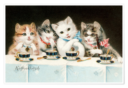 Póster Four Cat Girlfriends Having a Coffee Party