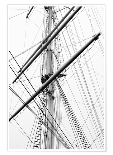Póster Detail view of a sailboat mast