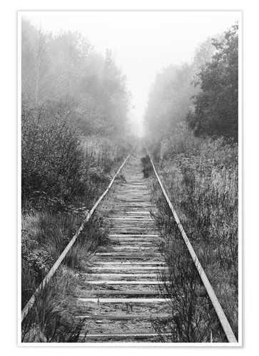 Póster Railroad in foggy forest