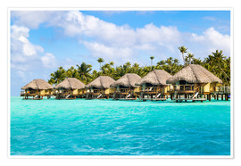 Póster Luxury vacation in an Overwater bungalow in the South Seas, Bora Bora, Polynesia