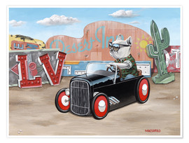 Póster Las Vegas Hot Rod Frenchie