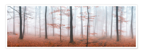 Póster Autumn panorama with red autumn leaves in the forest