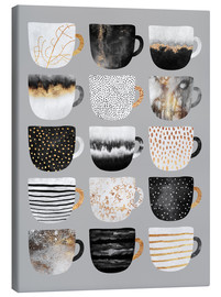 Lienzo  Pretty Coffee Cups 3   Grey - Elisabeth Fredriksson