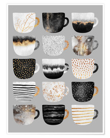 Póster  Pretty Coffee Cups 3   Grey - Elisabeth Fredriksson