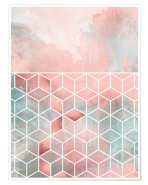 Póster Rose Clouds And Cubes
