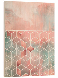 Cuadro de madera  Rose Clouds And Cubes - Elisabeth Fredriksson
