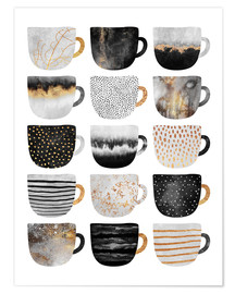 Póster  Pretty Coffee Cups 3   White - Elisabeth Fredriksson