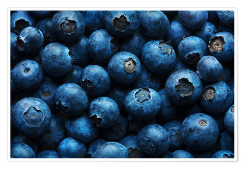 Póster Blueberries background close-up