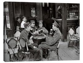 Lienzo  French and English soldiers drinking beer at a cafe - Jacques Moreau