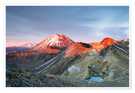 Póster  First light on the volcano, Tongariro crossing, New Zealand - Matteo Colombo