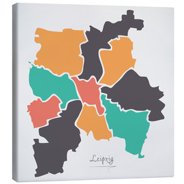 Lienzo  Leipzig city map modern abstract with round shapes - Ingo Menhard