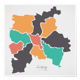 Póster  Leipzig city map modern abstract with round shapes - Ingo Menhard