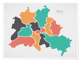 Póster Berlin city map modern abstract with round shapes