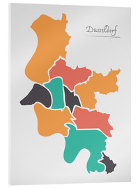 Cuadro de metacrilato  Dusseldorf city map modern abstract with round shapes - Ingo Menhard