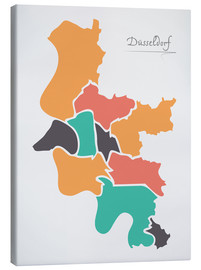 Lienzo  Dusseldorf city map modern abstract with round shapes - Ingo Menhard