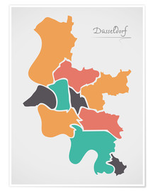 Póster Dusseldorf city map modern abstract with round shapes
