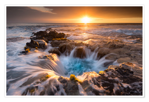 Póster Pools of Paradise during Sunset at the Coast of Hawaii (Big Island)