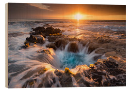 Cuadro de madera  Pools of Paradise during Sunset at the Coast of Hawaii (Big Island) - Markus Ulrich