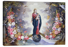 Lienzo  The Virgin and Child surrounded by a garland - Jan Brueghel d.Ä.