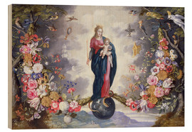 Cuadro de madera  The Virgin and Child surrounded by a garland - Jan Brueghel d.Ä.
