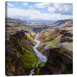 Lienzo  Aerial view of river and canyon, Iceland - Matteo Colombo