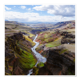 Póster Aerial view of river and canyon, Iceland
