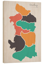 Madera  Duisburg city map modern abstract with round shapes - Ingo Menhard