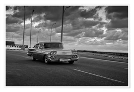 Póster Classic Cuban Car in black and white