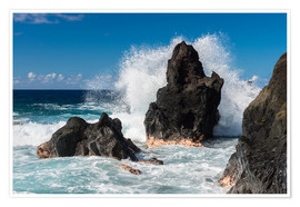 Póster Waves breaking at a Rock on La Reunion