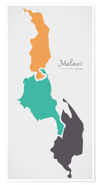 Póster Malawi map modern abstract with round shapes