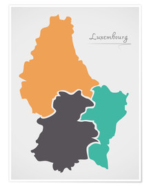 Póster Luxembourg map modern abstract with round shapes