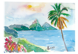 Cuadro de metacrilato  St Lucia Caribbean Dreams With Sunset and Pitons Peaks - M. Bleichner