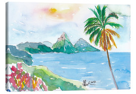 Lienzo  St Lucia Caribbean Dreams With Sunset and Pitons Peaks - M. Bleichner