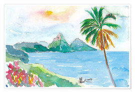 Póster  St Lucia Caribbean Dreams With Sunset and Pitons Peaks - M. Bleichner