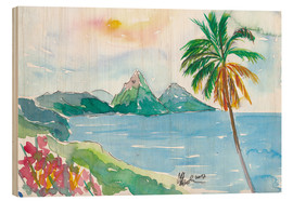 Cuadro de madera  St Lucia Caribbean Dreams With Sunset and Pitons Peaks - M. Bleichner
