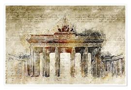 Póster  Berlin Brandenburg Gate in modern abstract vintage look - Michael artefacti