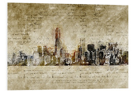 Cuadro de PVC  Skyline of New York in modern abstract vintage look - Michael artefacti