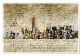 Póster  Skyline of New York in modern abstract vintage look - Michael artefacti