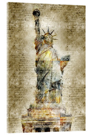 Cuadro de metacrilato  Statue of liberty New York in modern abstract vintage look - Michael artefacti