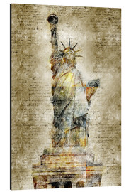Cuadro de aluminio  Statue of liberty New York in modern abstract vintage look - Michael artefacti