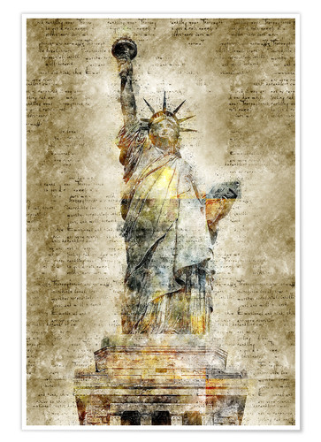 Póster Statue of liberty New York in modern abstract vintage look