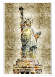 Póster  Statue of liberty New York in modern abstract vintage look - Michael artefacti