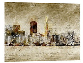 Cuadro de metacrilato  Skyline of San Francisco in modern abstract vintage look - Michael artefacti