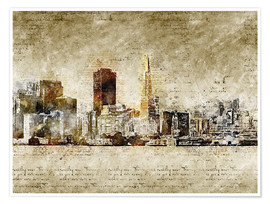 Póster  Skyline of San Francisco in modern abstract vintage look - Michael artefacti